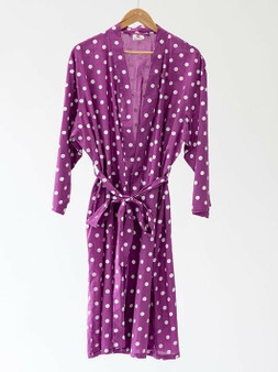 3/4 sleeves with belt and belt hoops kimono robe in dotty purple 100% cotton fabric.