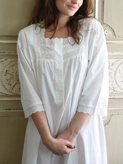 Long-sleeved nightdress with square neck, buttons front and broderie anglaise trims.
