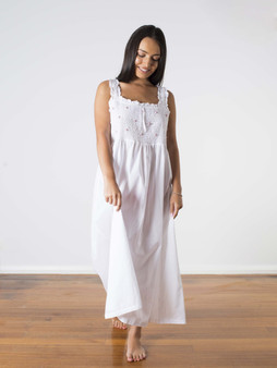 Monica Pretty strap nightdress with comfy elasticated smocked bust with pink floral embroidery and frill trim.