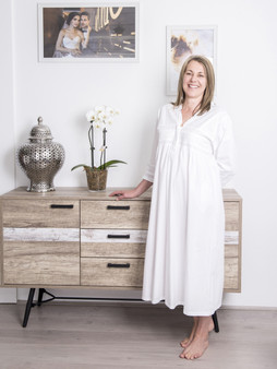 Long-sleeved nightdress with flattering neckline, lace trims and elegant silhouette.