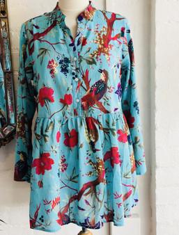 Bird Print Aqua Mandarin Collar Tunic