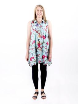 Bird Print Aqua Sleeveless Tunic with Lining