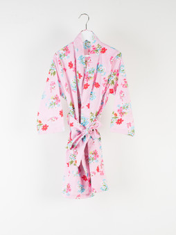 Arian pink kids/child 100% cotton kimono with 2 pockets and belt with hoops