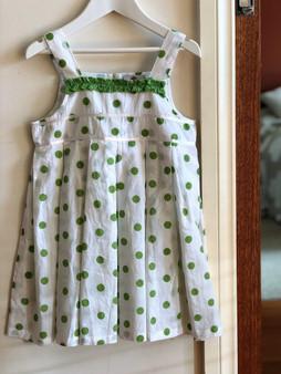 Dotty Girls Sundress Green