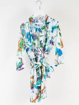 Teal Bird Print in White Girls Kimono