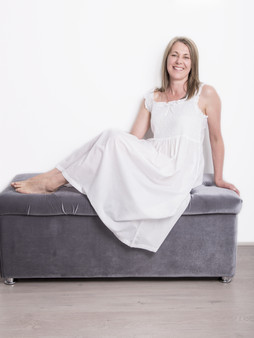 Monica Pretty strap nightdress with comfy elasticated smocked bust with white floral embroidery and frill trim.