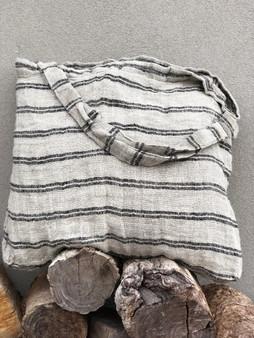 Handloom/Rustic Linen Oversized Bag with Black Stripe
