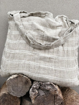 Handloom/Rustic Linen Oversized Bag with White Stripe 61x48cm