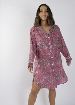 This leaf pink nightshirt have curved hems with side splits, fabric covered buttons, and contrasting pom-pom trims around the cuffs.