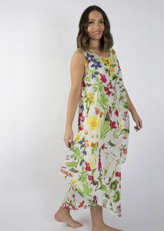 Summer bias cut loose fitting dress in 100% cotton fabric with blossom and floral prints