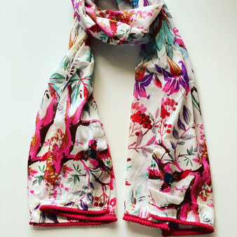 100% cotton white printed bird and floral scarf/sarong with pom-pom trimmed ends and are luxuriously long – 180 x 50cm