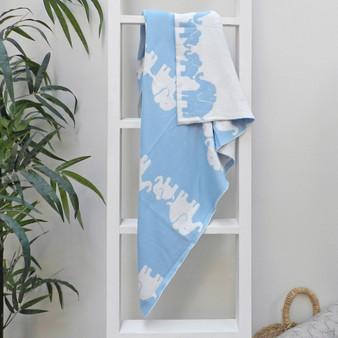 Blue Elephant Reversible Baby Blanket