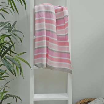 Knitted Pink Rose Stripe Baby Blanket