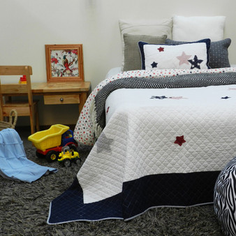 Starry Blue/White Quilt Bedspread Set of 2