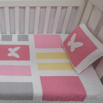Butterfly Cot Quilt Set of 2 White and Pink