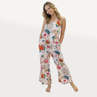 Lounge pants with floral printed in 100% cotton fabric with drawstrings tie at the waist