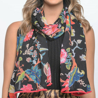 100% cotton black printed blossoms and floral scarf/sarong with pom-pom trimmed ends and are luxuriously long – 180 x 50cm