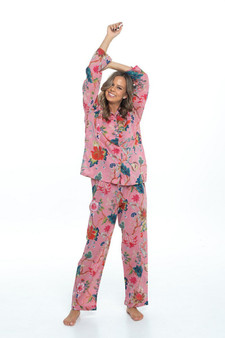 Arabella hot pink long pajama set, the pajama jacket fastens with fabric covered buttons and has a single breast pocket, and the trousers have a drawstring waist for comfort.
