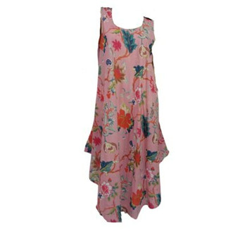 Summer bias cut loose fitting dress in 100% cotton black fabric with blossom and floral prints