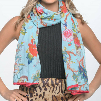 100% cotton aqua printed blossoms and floral scarf/sarong with pom-pom trimmed ends and are luxuriously long – 180 x 50cm