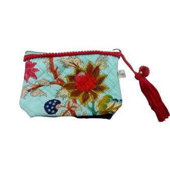 Arabella aqua make-up bag, the zip pulls with a pom-pom and red trimmed tassel and there is a red pom-pom trim along the top.