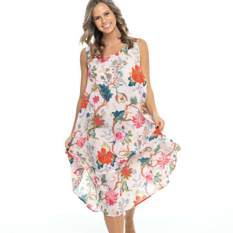 Summer bias cut loose fitting dress in 100% cotton soft pink fabric with blossom and floral prints