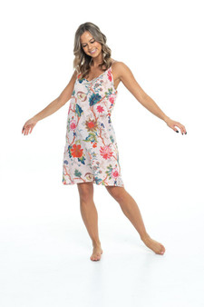 Floral print in 100% cotton soft pink facbric spaghetti strap slip nightwear