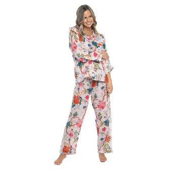 Arabella soft pink long pajama set, the pajama jacket fastens with fabric covered buttons and has a single breast pocket, and the trousers have a drawstring waist for comfort.