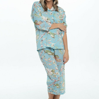 3/4 pajama PJ set in 100% cotton blossom blue fabric