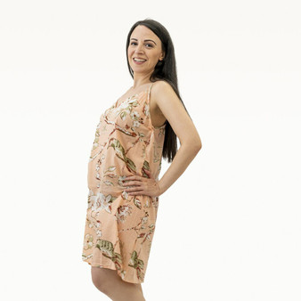 Women's blossom print in 100% cotton peach with adjustable spaghetti strap slip dress.