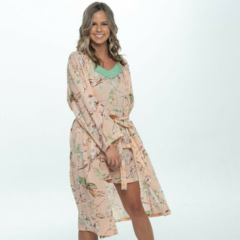 3/4 sleeves with belt and belt hoops kimono robe in fern blossom peach100% cotton fabric.