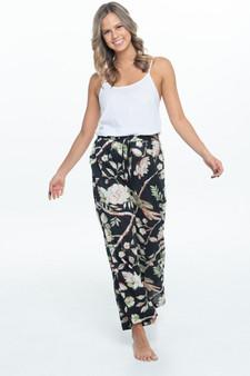 Samara black in cotton fabric lounge pants with 2 internal side pockets