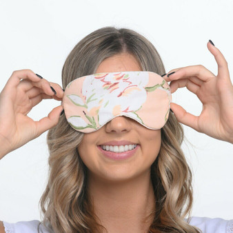 Blossom peach cotton printed eye mask with bag and drawstring