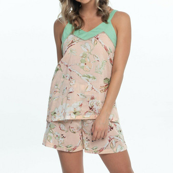 Blossom peach cami short set in light green spaghetti strap and above the knee short with drawstring tie.
