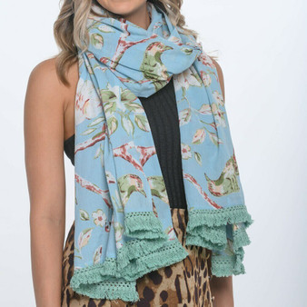 Blossom sky blue large scarf sarong with cotton lace at the short edge in 200 x 110 cm