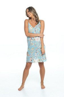 Women's slip dress blue sky with birds and floral print in cotton fabric.