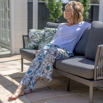 Blue & white floral lounge pants with 2 side and drawstring waist tie for easy to wear and comfortable use in super lightweight soft cotton fabric