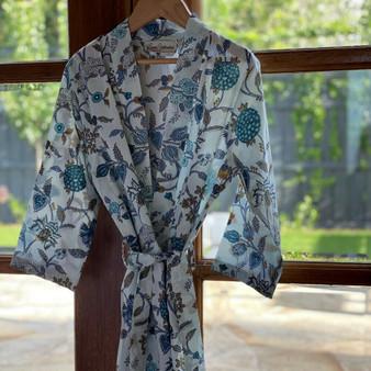 Blue & White Girl's Kimono/Dressing Gown