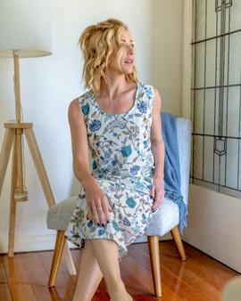 Blue & White Floral bias cut loose fitting cotton long summer dress