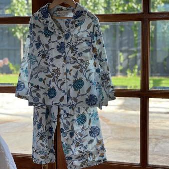 Blue & White Floral Girl's PJ Set