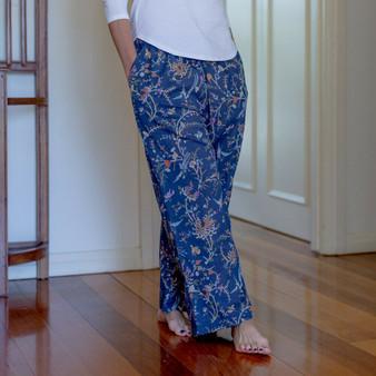 Navy bird printed 100% cotton lounge pants