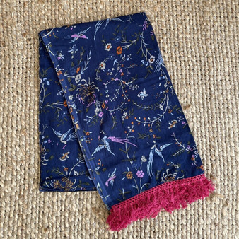 Cotton navy large scarf sarong with cotton lace at the short edge in 200 x 110 cm