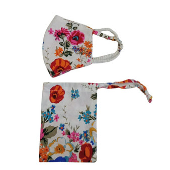 Cotton face mask in floral printed design with pouch
