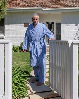 Blue stripe long sleeve kimono robe