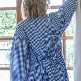 Blue kimono robe/dressing gown with blue checkered design