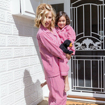 Women's cotton cropped pajama set in red check design.