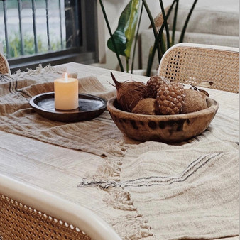 Rustic Linen Blue Striped Scarf/Table Runner