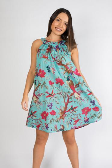 Bird Print Aqua Round Neck Mini Dress