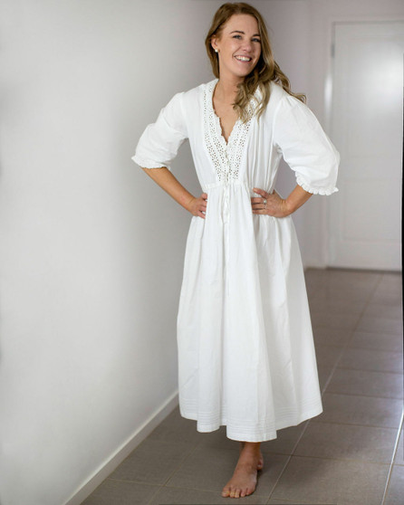 Maudie Ladies white 3/4 length sleeve nightdress with embroidered v neckline and frilly cuffs.