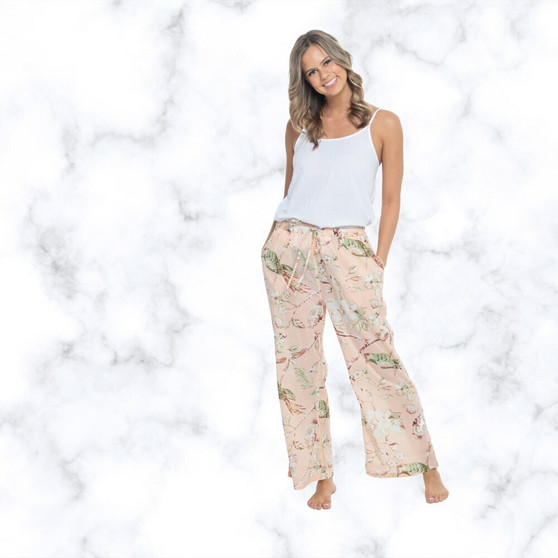 Blossom peacht lounge pants with 2 side and drawstring waist tie for easy to wear and comfortable use in super lightweight soft cotton fabric